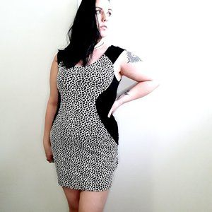 EXPRESS cheetah zip up slimming bodycon mini dress